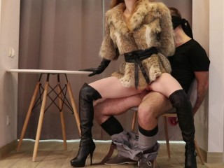 Our first FEMDOM! High heels, leather gloves, fur coat (TRAILER) - Otta Koi
