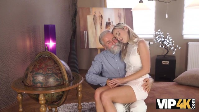 VIP4K. Pretty blonde with perfect body makes love to old dude 1