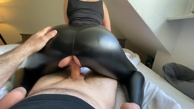 Full leather cover sex Curvy amateur stepmom is fucked doggystyle and her leather ass cum covered