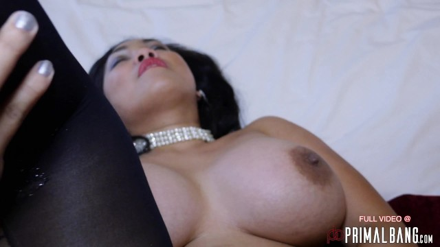 PrimalBang big tits asian whore babe presenter rubs her pussy on the bed 10