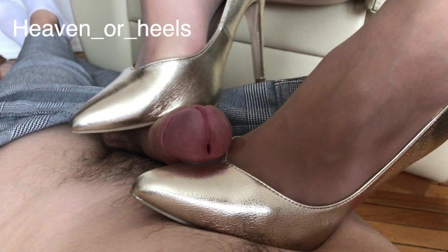 High end sexy Shoejob in high heels with light trampling and a happy ending