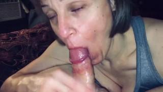 Mature cougar love's sucking cock & swallowing cum