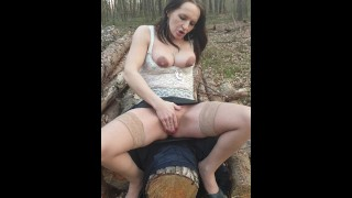Horny polish girl has to masturbate pussy even while walking in the forest