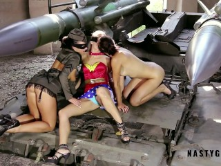 Super hero tank and squirt in mouth...