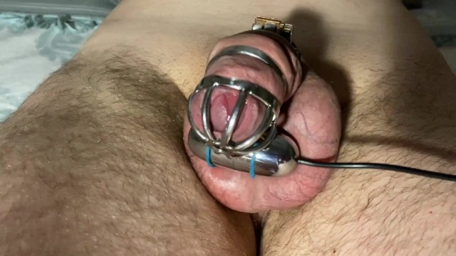 Techno vibrator Teasing my slave in chastity with vibration egg