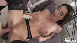 Busty MILF Mom Fucks Her Stepson to Help Him Deal With Getting No Pussy