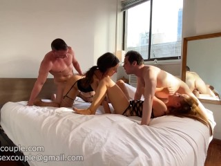 Two bisexual couples get together hottest foursome ever...