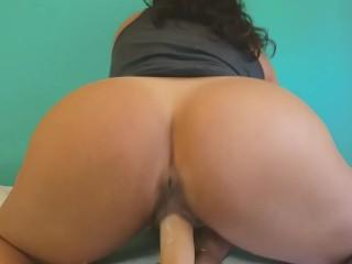 Ass cums on dildo...