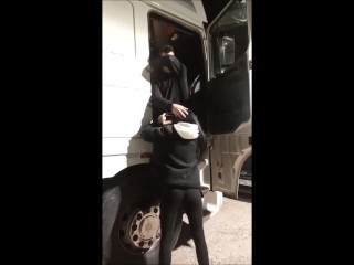 Real amateur wife public blowjob stranger truck driver