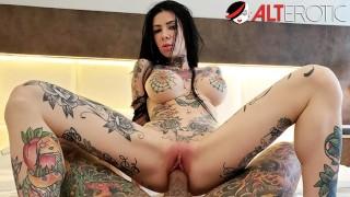 Busty tattooed sex fiend Megan Inky gets a creampie