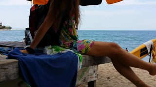 Clip Up Skirt VIEW on Crowded Beach # PUBLIC NO PANTIES,just BUTT PLUG wearing