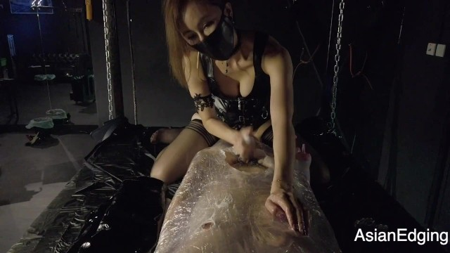Adult wrap Hk mistress niti - wrapped bondage, edging handjob with ruined orgasm