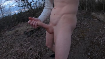 Outdoors with my dick in hand, can't stop enjoy it!   POV cumshot.