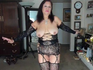 Mature Woman Looking Like A Femdom With My Hairy Pussy Exposed