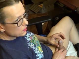 Trans lady blows hard slo motion cumshot...