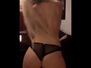 Blonde babe stripping