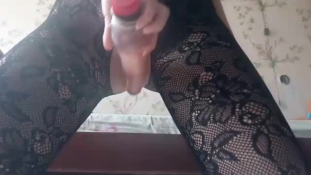 Girlfriend misses me and sits on a Dildo 10