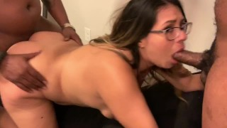 Teen Wife Gets Destroyed from Both Ends by 2 BBC Bulls while Husband Films!