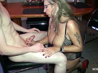 German Mom Teach Shy Virgin Young Guy to Fuck when Dad Away