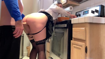 The maid takes the hard cock in the kitchen
