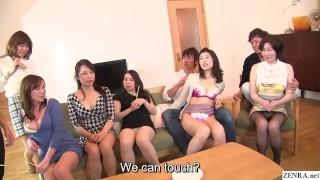 Japanese MILF party thong lineup and CFNM handjobs