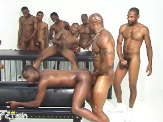 Group of enjoy sucking their big cocks and...