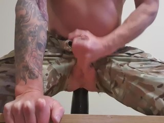 Twink rides big fisting dildo and shoots...