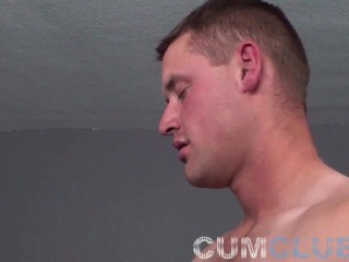 Fit stud blowjob and cum eating