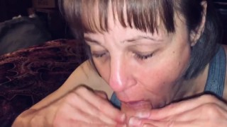 POV Mature milf loves sucking him dry