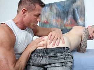 Big dick muscle daddy dominates boy during his...