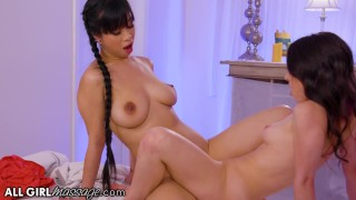 Screen Capture of Video Titled: AllGirlMassage Jade Kush Gets A Scissoring Relaxation