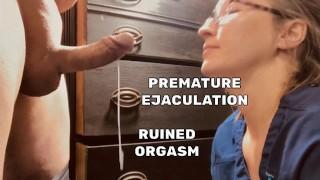 Premature Ejaculation, sweet nurse lips on cock make him cum in 48 seconds