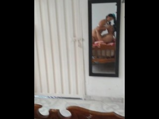 fucking with my bull and filming for my cuckold hubby in front of mirror