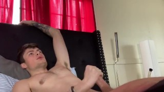 Dirty talking and moaning while jerking off and cumming all over my chest