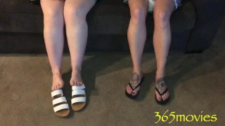 Two Snow Angels Feet & Soles Candid On The Couch