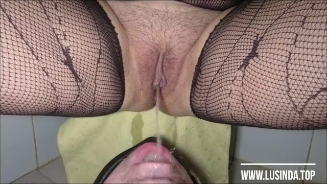 Licking precum from his piss slit Femdom peeing in his mouth. pussy cleanup after pee