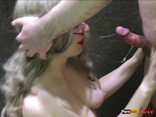 Blonde Sloppy Deepthroat Blowjob Cum in Mouth, Cim