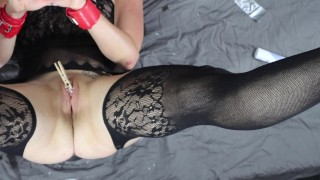 Extreme Pussy Torture for Submissive Painslut with Wax and Toilet Brush