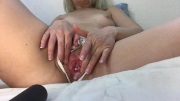 Very wet, all covered in cum hairy pussy close-up