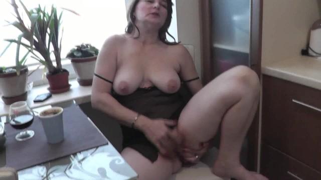 Naked pussy Natural tits beautiful milf. naked wife masturbates at kitchen pussy orgasm