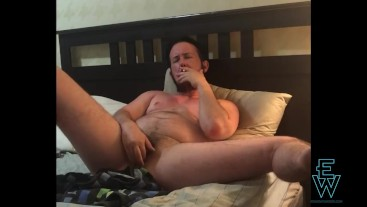 FTM Eddie Wood Smokes and Jerks Off in Bed