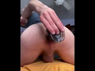 Gape my hole twink fucks ass with dildo...