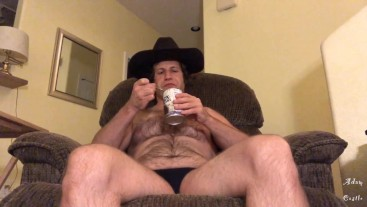 Hairy Cowboy In Thong Eats Beans & Farts