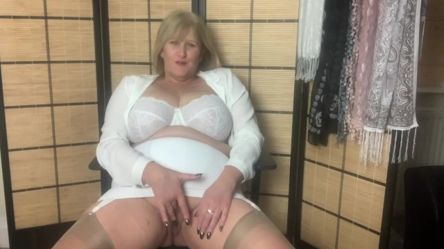 Girdle sexy wearing Hot mature mom in girdle and stockings fingers her wet pussy