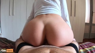 Jumping on dick until creampie: he can't last more than 2 minutes