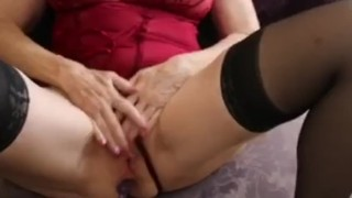 Anal beads and Scarlet the HOT Granny getting ready for Stepson's thick BBC