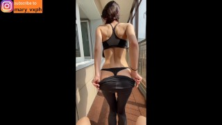 Screen Capture of Video Titled: Fit girl in the leggings gets cum on her face on the balcony