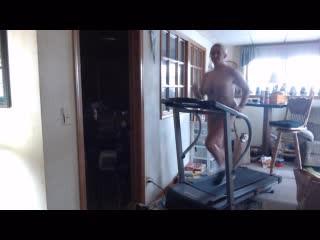 Feb 2019 jogging nude on treadmill jumping jacks...