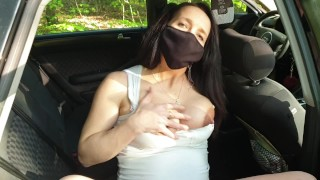 Pregnant appealing MILF masturbating in a car (close up pussy)