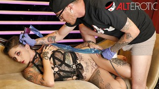 Sully Savage sucking dick while being tattooed